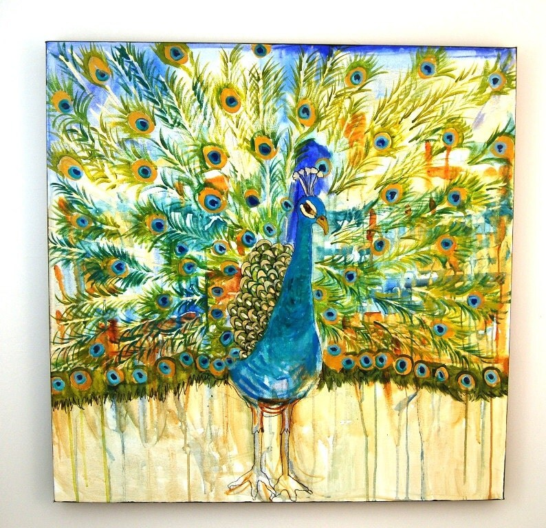 "Abstract oversized Peacock Painting Decor HUGE Art 3x3' 36x36"" square Olympian Blue, bright Chartreuse green"