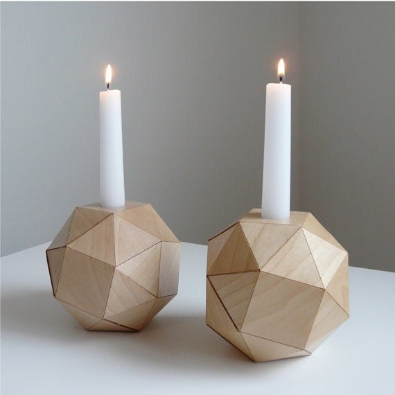 Wooden Geometric Candlestick Holders, Modern Table Top, Polyhedron Design