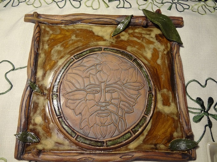 Wiccan Green Man Wall Hanging Ceramic Green Man by mckeepottery