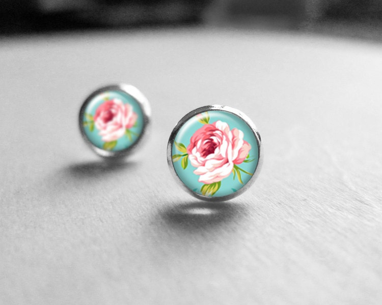 Pink Rose Stud Earrings, Love Gift, Mothers Day, Rose Stud Earings, Rose Earrings E327