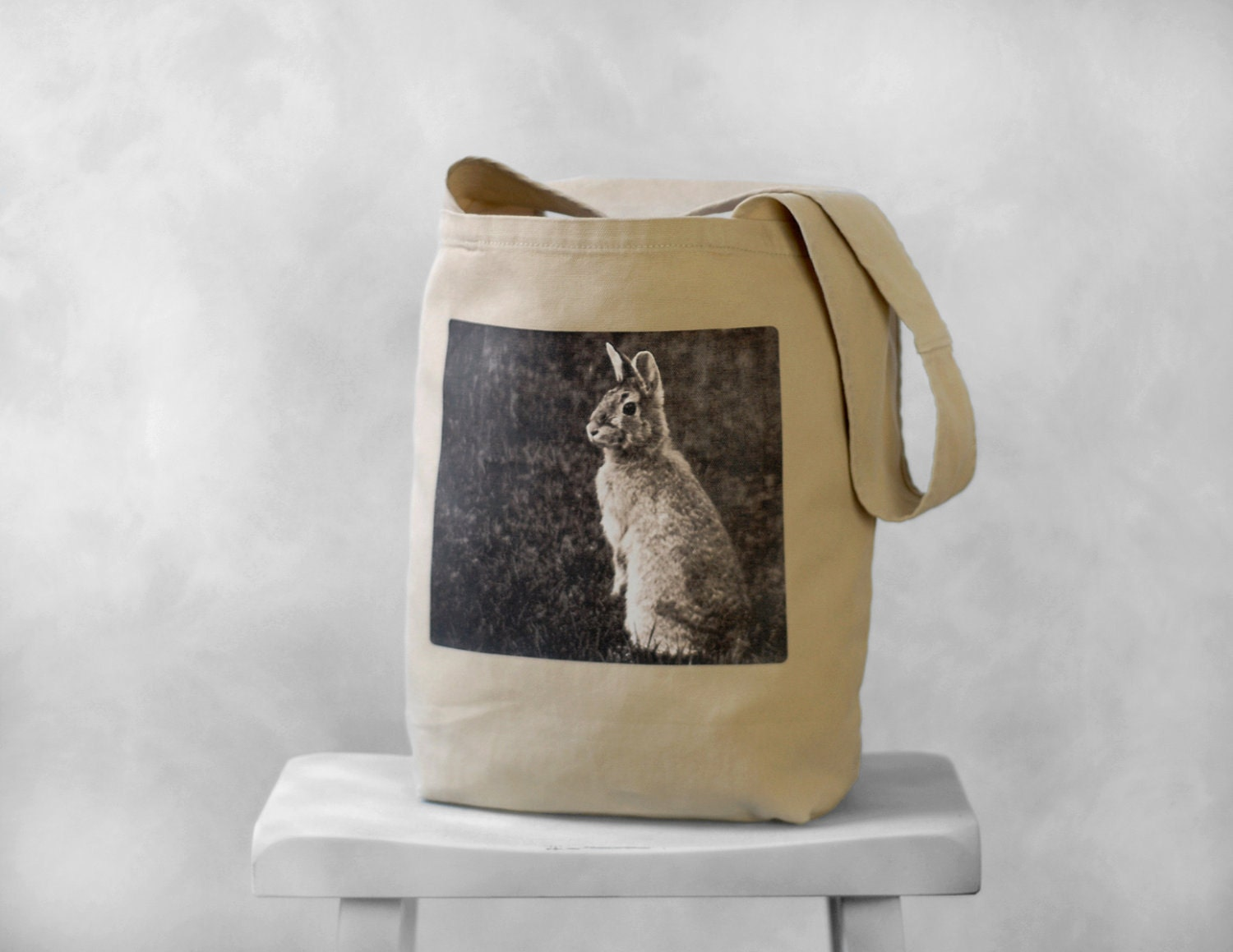 Purse Tote Canvas Bag - Woodland Bunny - Mademoiselle Lapina - Stone Beige