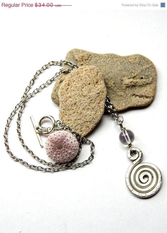 SALE Simple Spiral Pendant and Iridescent Bead Necklace (P826)