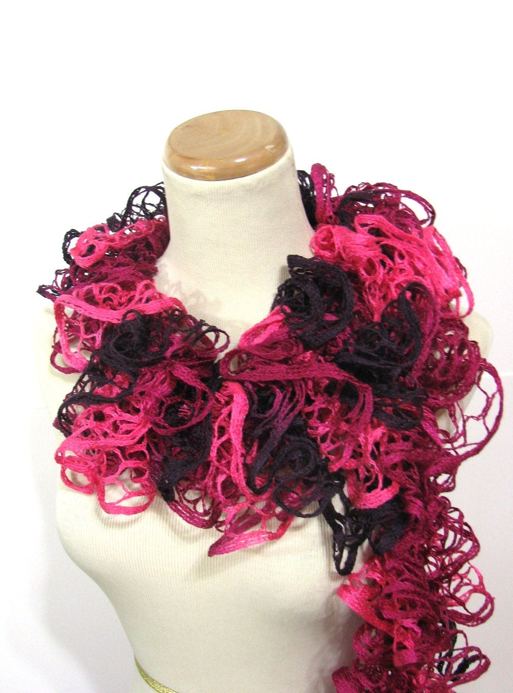 Valentines Day Hand Knit Ruffled Scarf - Pink Hot Pink Purple