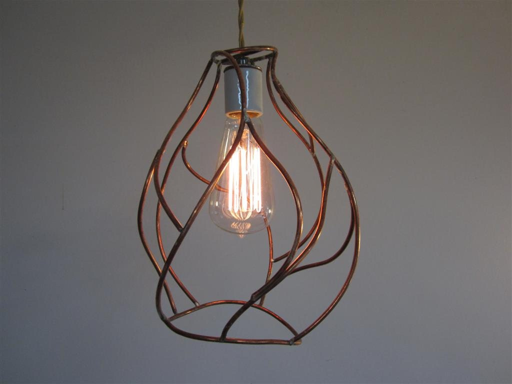 Copper Pendant Light - Minimalist Bare Bulb Industrial Cage Lighting - Handmade Copper Sculpture Cage