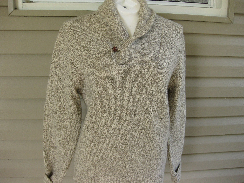 Vintage 70's LL Bean shawl collar wool  sweater....size small.....ski sweater......fall fashioin