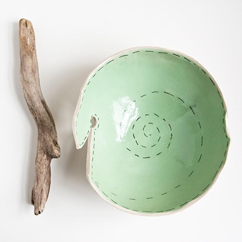 knitting yarn bowl, modern, minimalist white and mint grin pottery bowl, handmade ceramic dish by karoArt - karoArt