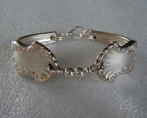 Silver Spoon Bracelet Recycled Vintage Concerto Sterling Beads Custom Sizing