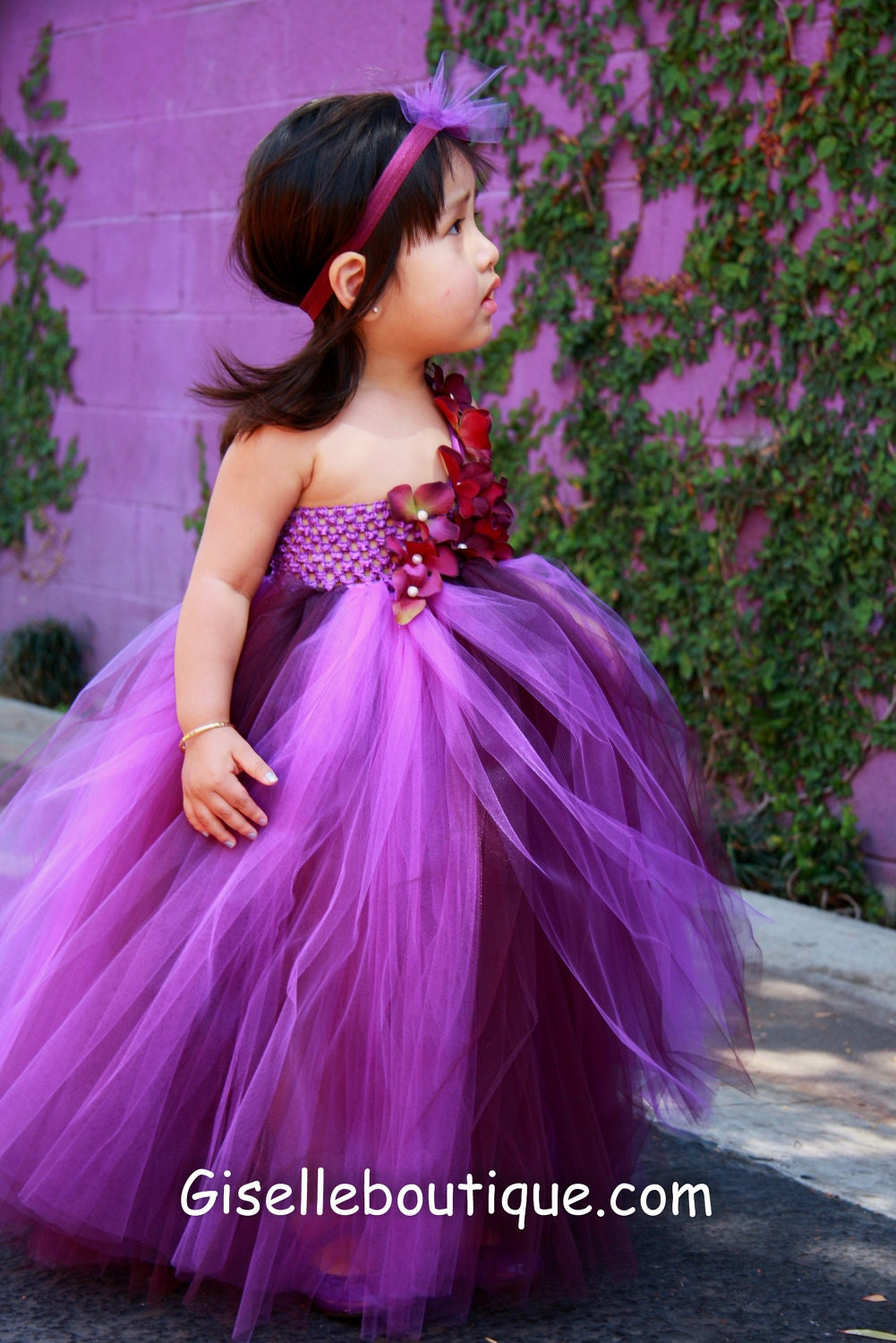 Limited Eggplant and Purple TuTu Dress. Wedding.Birthday.Flower Girl Dress - giselleboutique