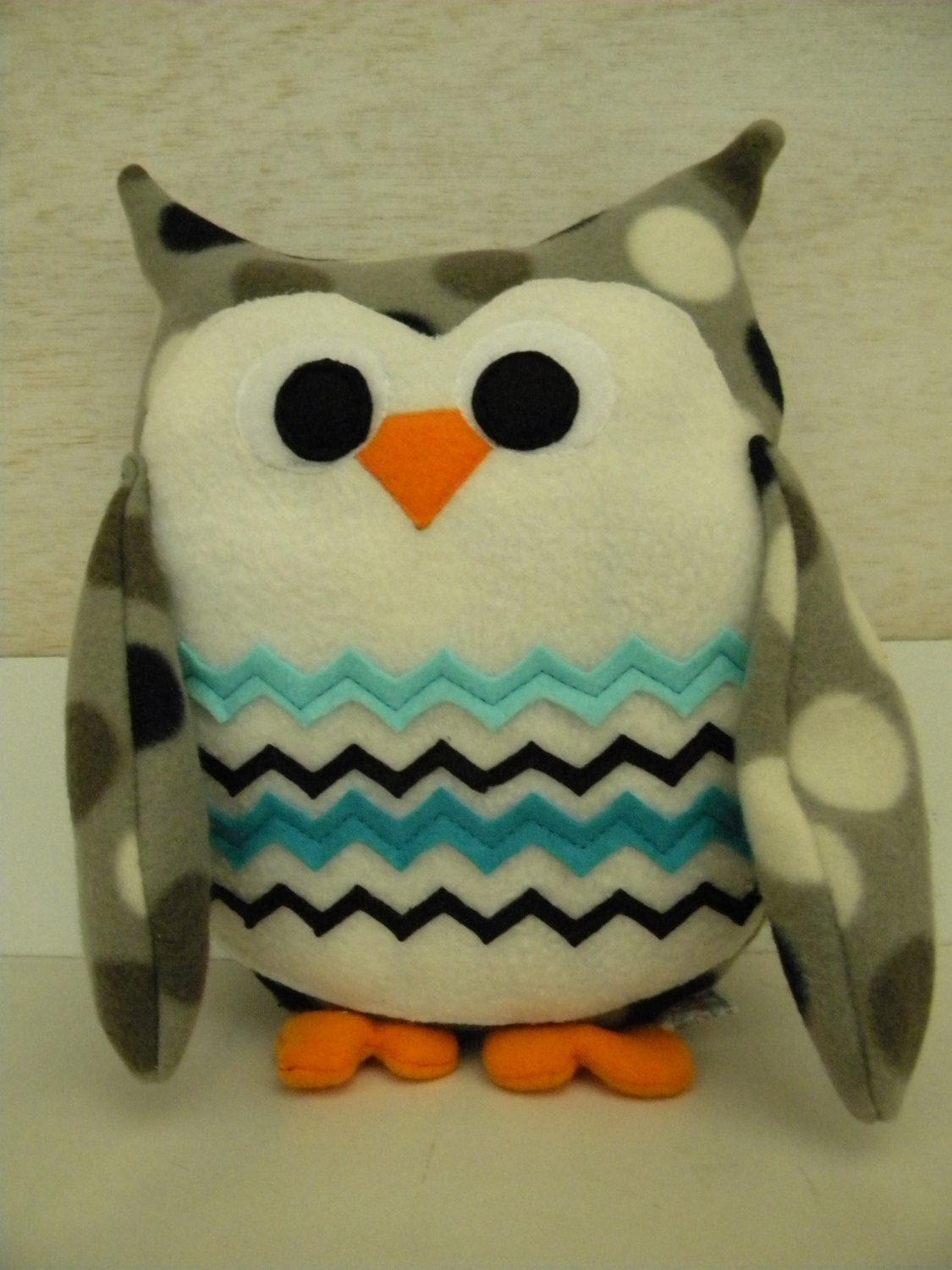 Handmade Gray, Black and White Polka Dot Plush Fleece Owl with Aqua