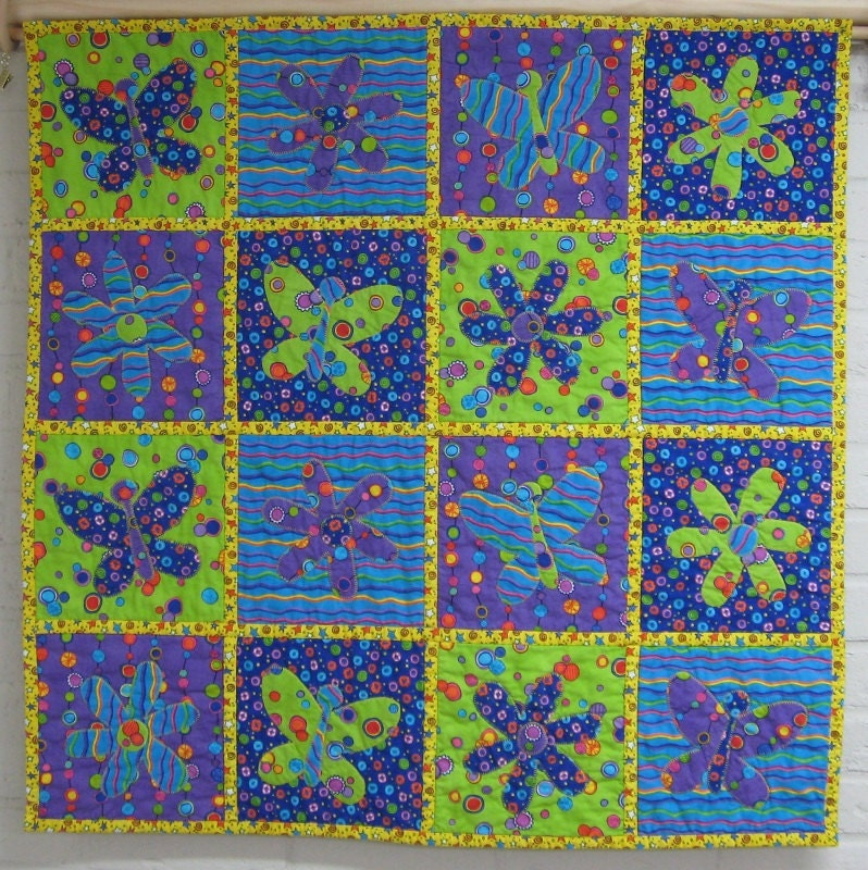 Butterfly & Flower Applique Wall Hanging - 32x32 - Two Sided - Lime Green, Aqua Blue, Purple, Yellow - KelleyInVermont