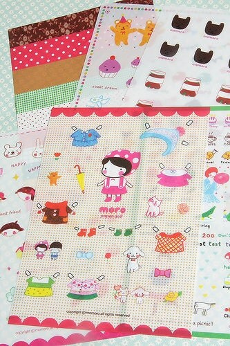 Kawaii Transparent Moro Paper Doll Sticker Set (6 Sheets)