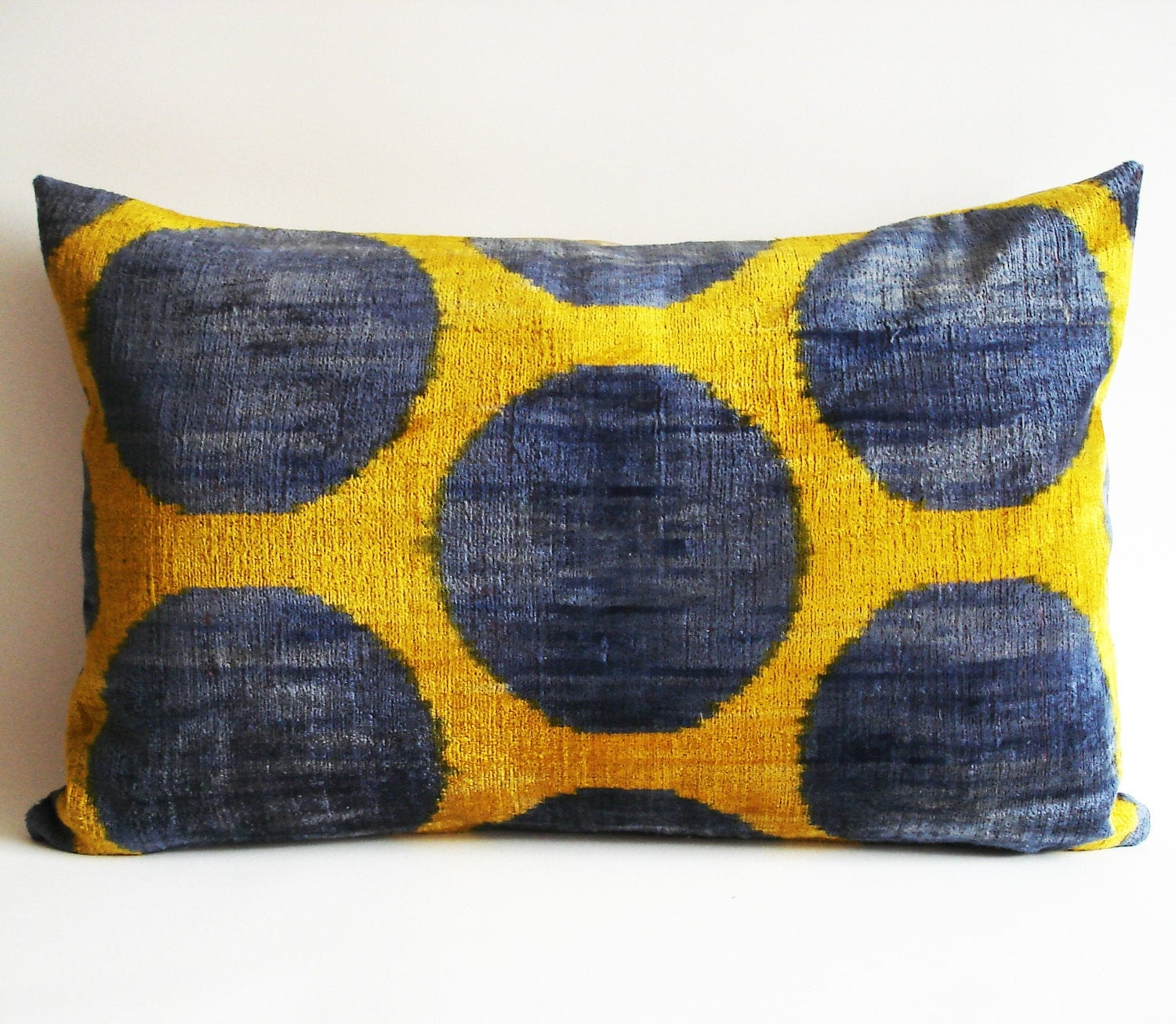SALE - Soft Hand Woven - Silk Velvet Ikat Pillow Cover - 15x23 inch - Blue Yellow Green Color