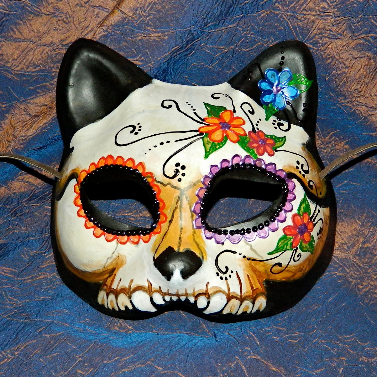 Dia de Los Muertos Kitty Cat Mask, Adult Size, Goth Cosplay LARP Anime