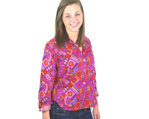 1960s pop art shirt blouse, Mod shirt,  geometric bold pink purple green orange - vintagerunway