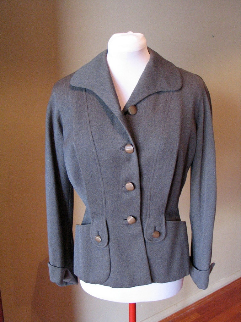 Vintage Late 1940s early 1950s Grey Ladies Tailored Jacket