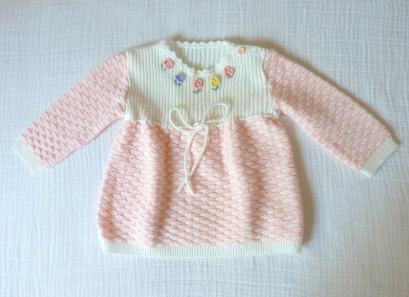 Vintage girls sweater, 2T. Pink and white with crocheted and embroidered flowers - LazerBabyVintage