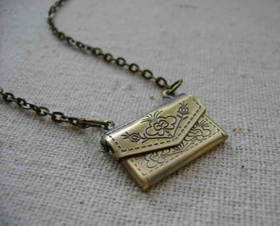 Antiqued brass floral envelope locket necklace