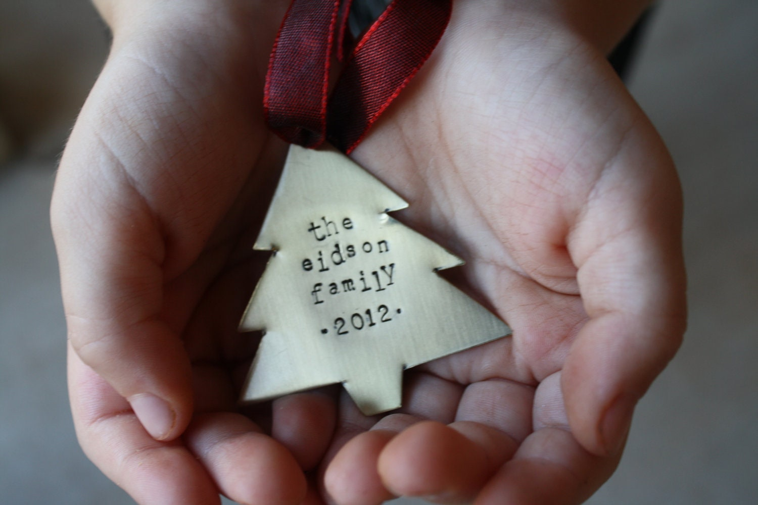 Hand Stamped Christmas Tree Ornament - ImBlessed