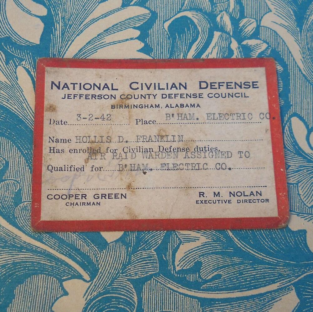 WWII National Civilian Defense Air Raid Warning Card Birmingham, Alabama 1942