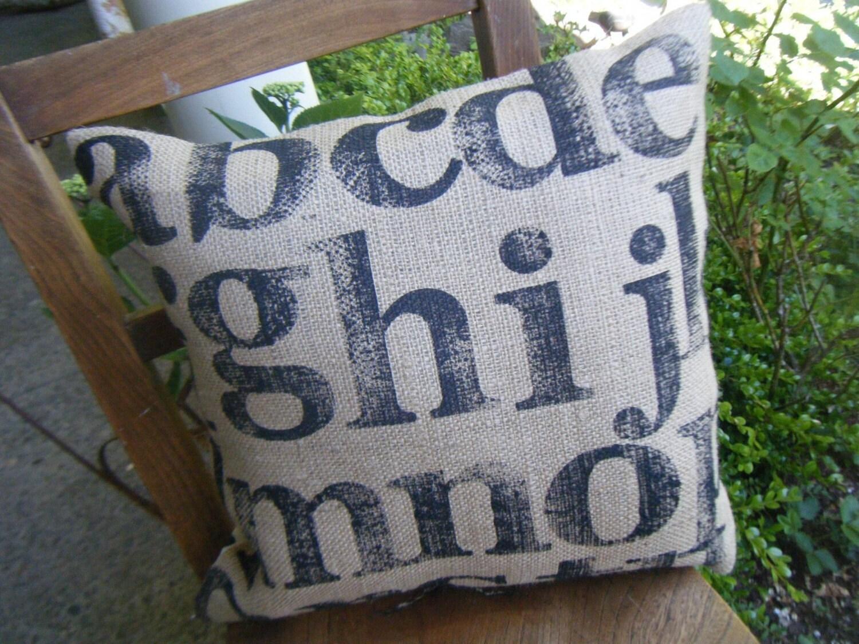 Burlap and Drop Cloth Cotton Alphabet Sampler Pillow