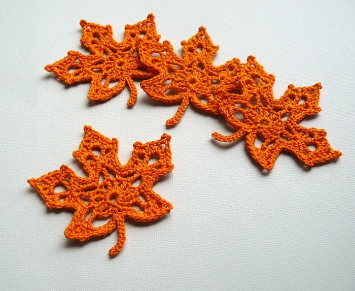 4 Orange Leaf Appliques -- Crochet Maple Leaves - CaitlinSainio