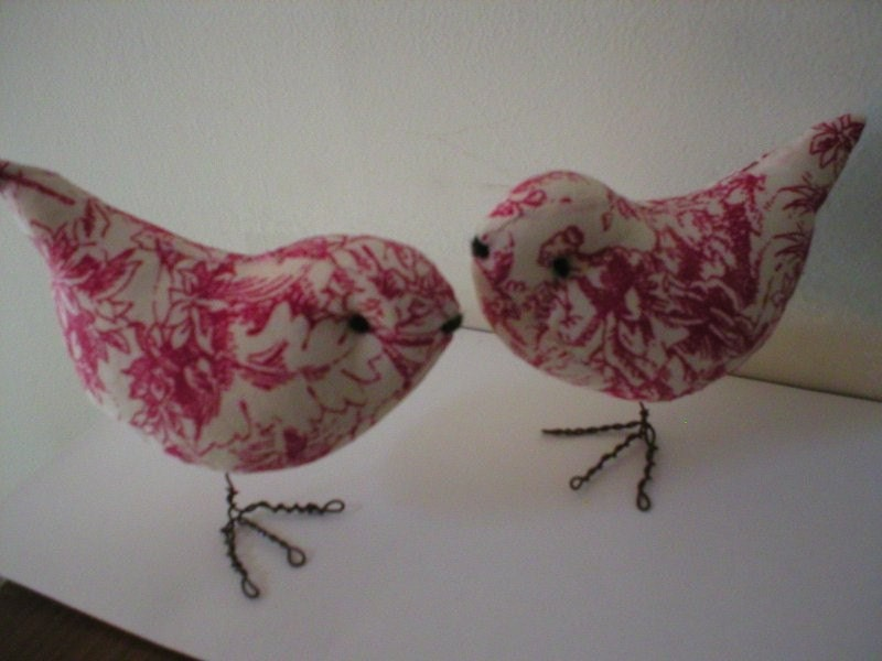 Beauitiful Red Toile Pr of  Wedding Cake Topper Love Birds