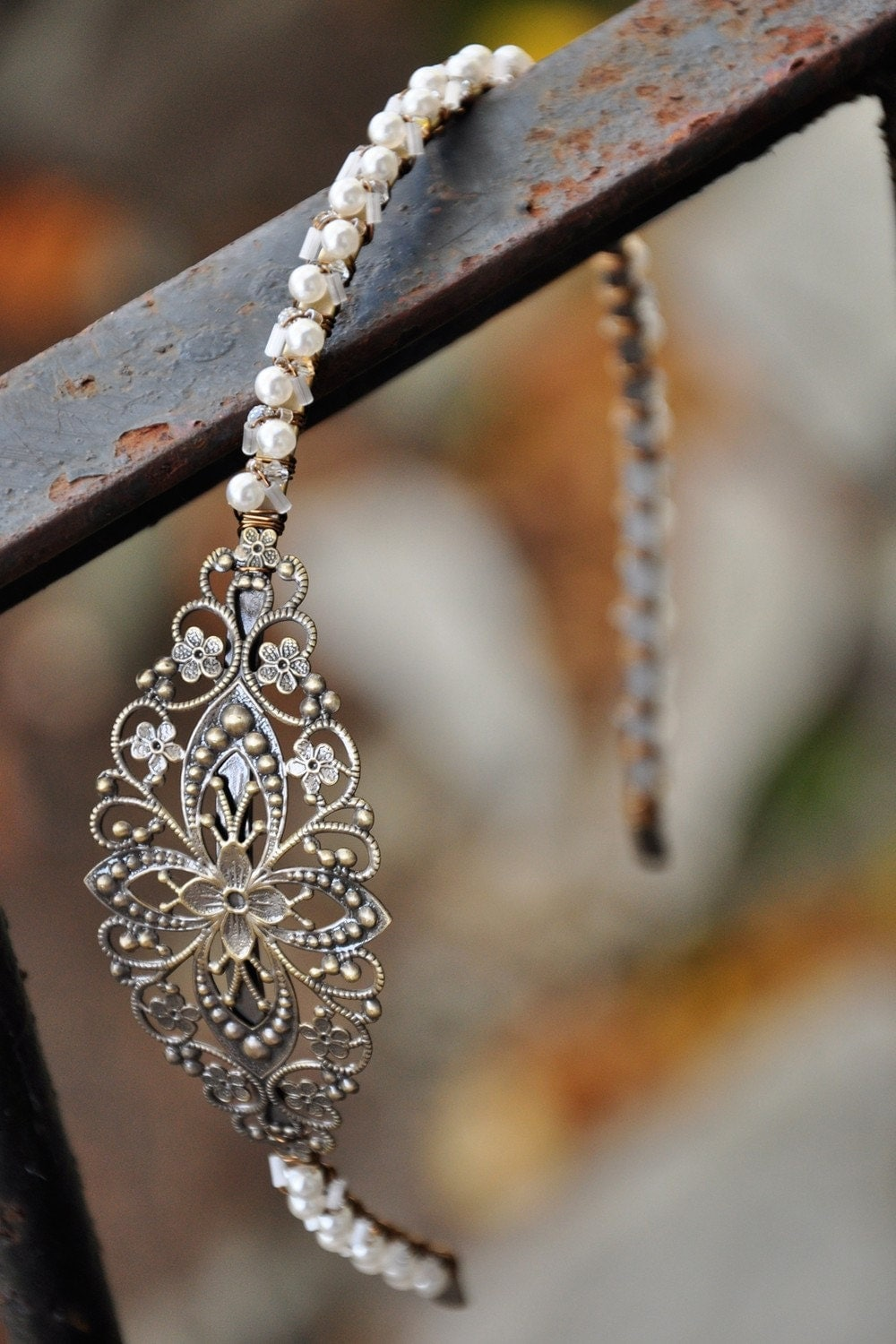 Antique Finished Filigree Wedding Headband.  One of a Kind.  H0082.