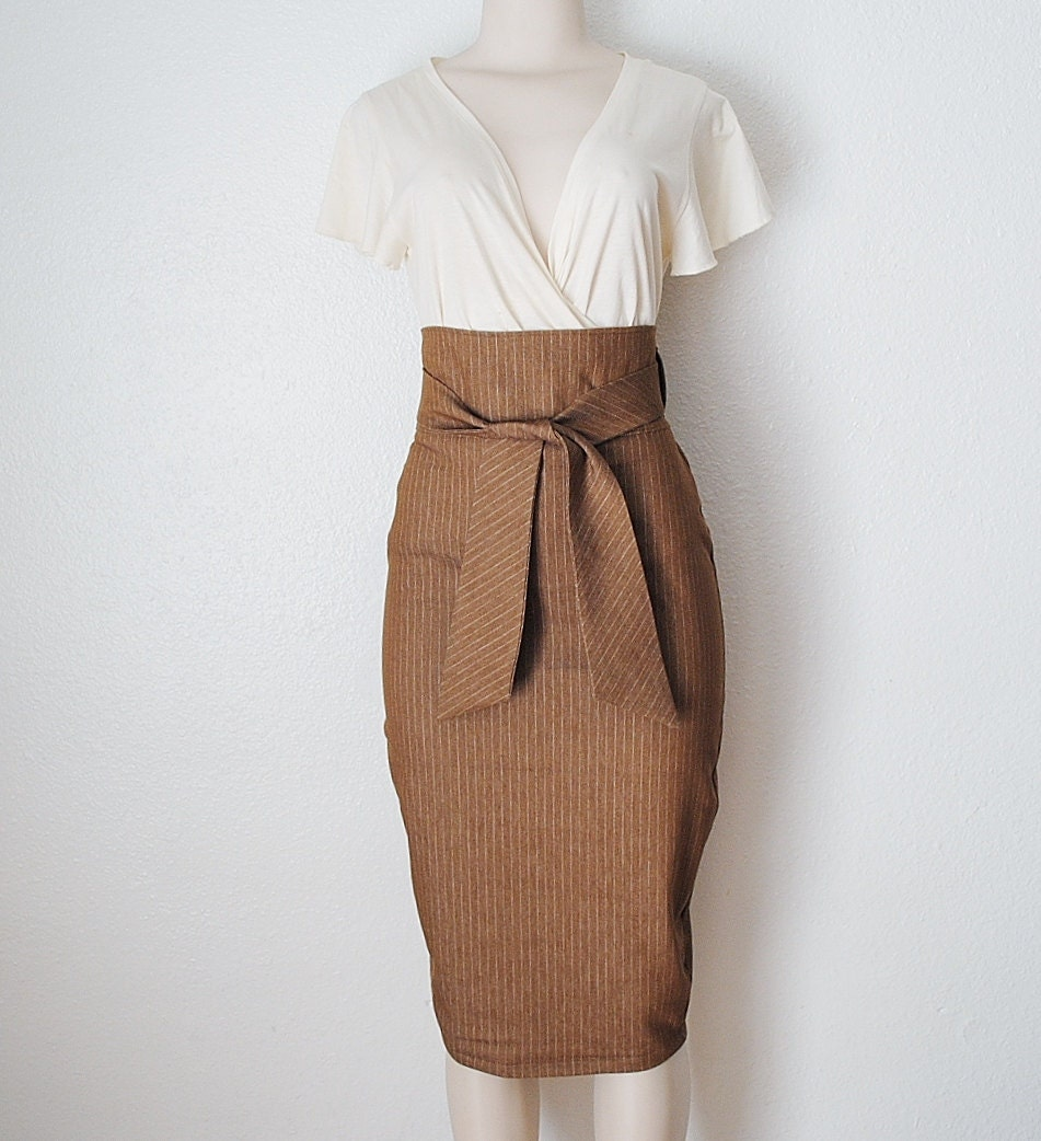 High Waist Pencil Skirt in Chocolate Brown & White  Pinstripe Denim Womens Clothing Custom Made - Small Only - FineThreadz