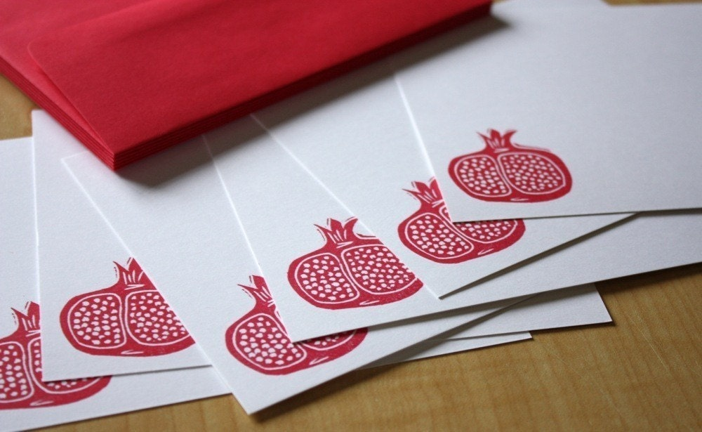 Pomegranate - Flat Note Stationery - Hand Printed - Set of 6