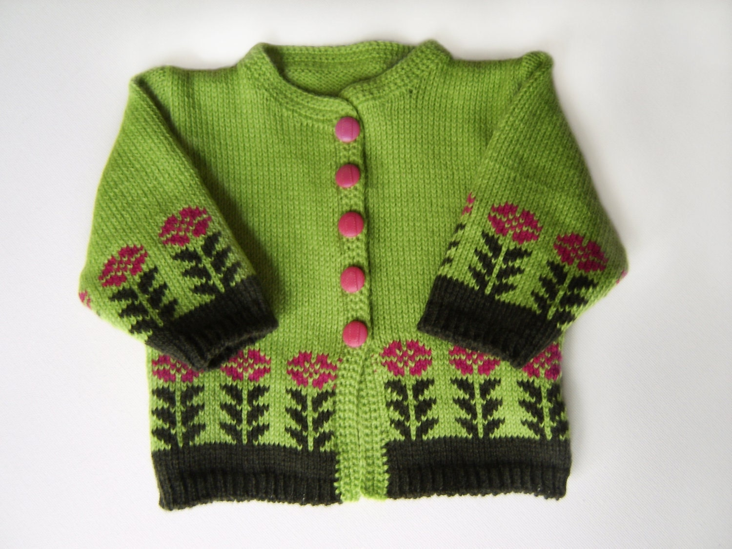 Knitted Baby Cardigan - Green, 0 - 3 months - SasasHandcrafts