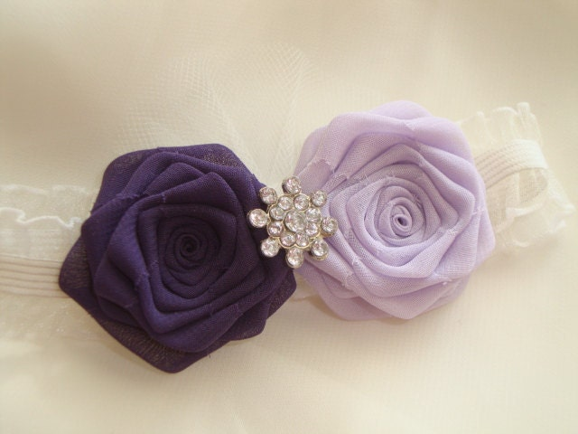 Eggplant Rose Ivory Garter SET Bride Bridal Silk Wedding Purple Lavender