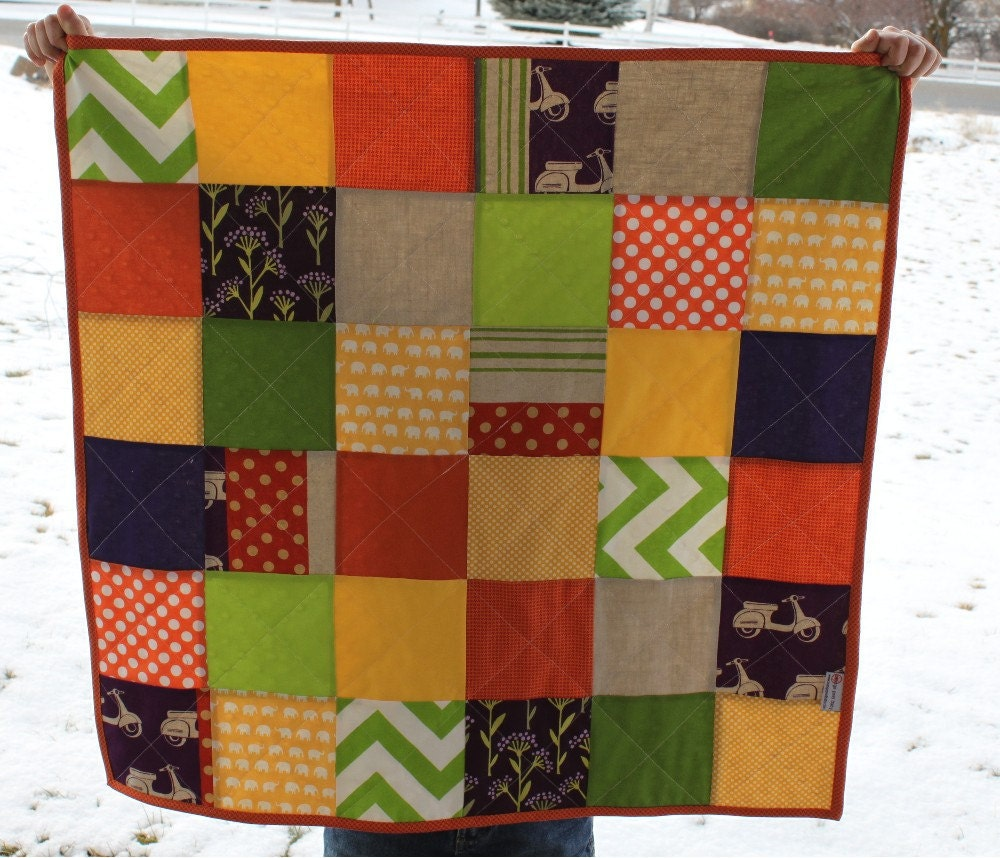 purple scooters baby quilt