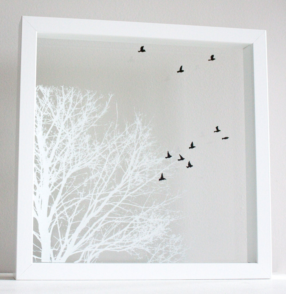 Hand Pulled Layered Screen Prints on Glass - White Oak and Birds