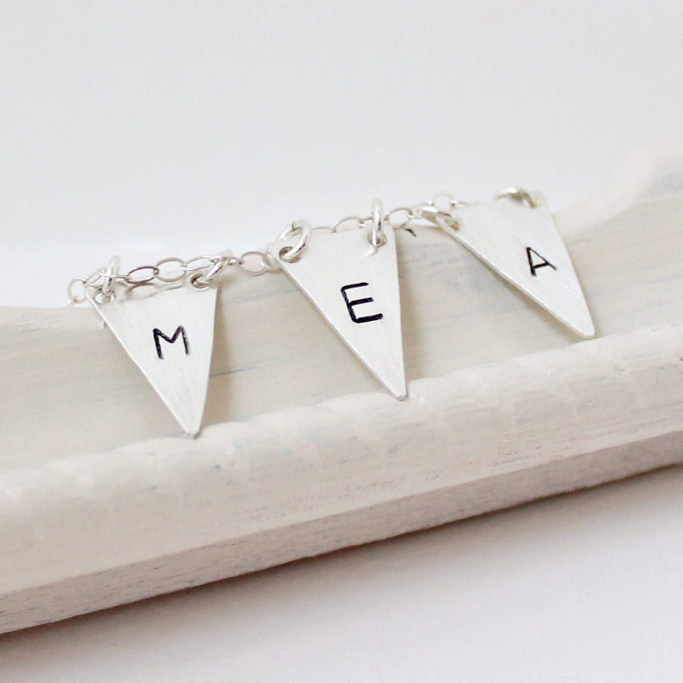 Three Initial Personalized Necklace - Triangle Jewelry - Geometric Jewelry - Flag Bunting Pennant Banner Sterling Silver