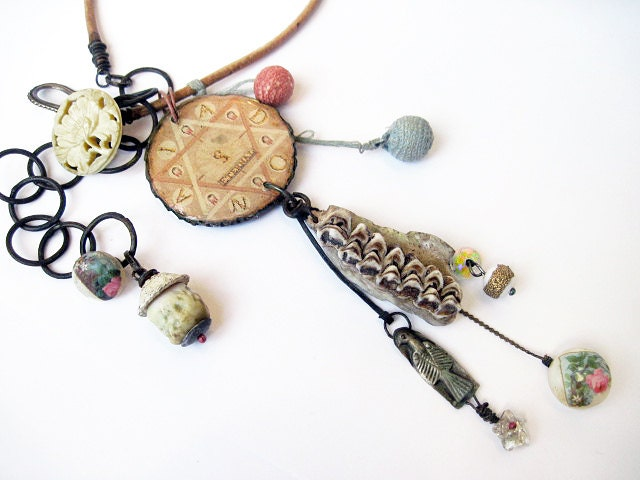Eternal.  Rustic Alchemy, Pale Gypsy Victorian Tribal Assemblage necklace.