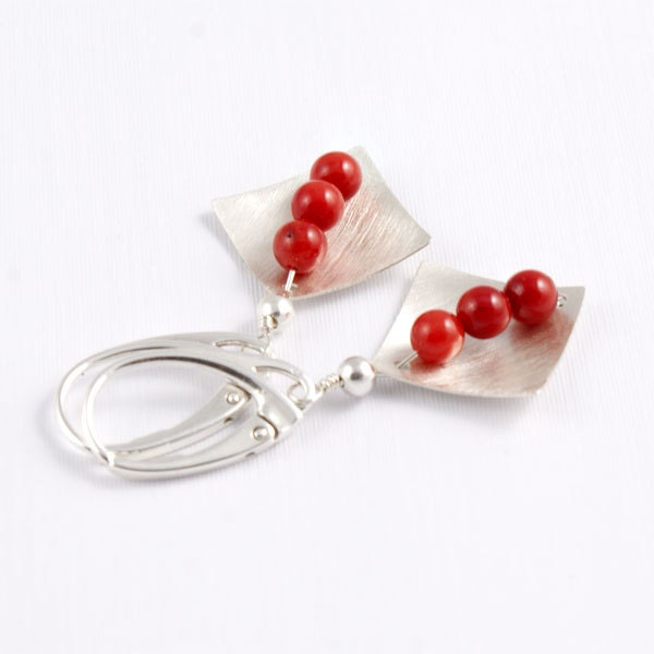 Coral Earrings Stone Sterling Silver Earrings Red Coral Earrings Silvergallerycomau - silvergallerycomau