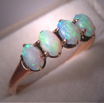 Antique Australian Opal Ring Victorian Wedding Band 6