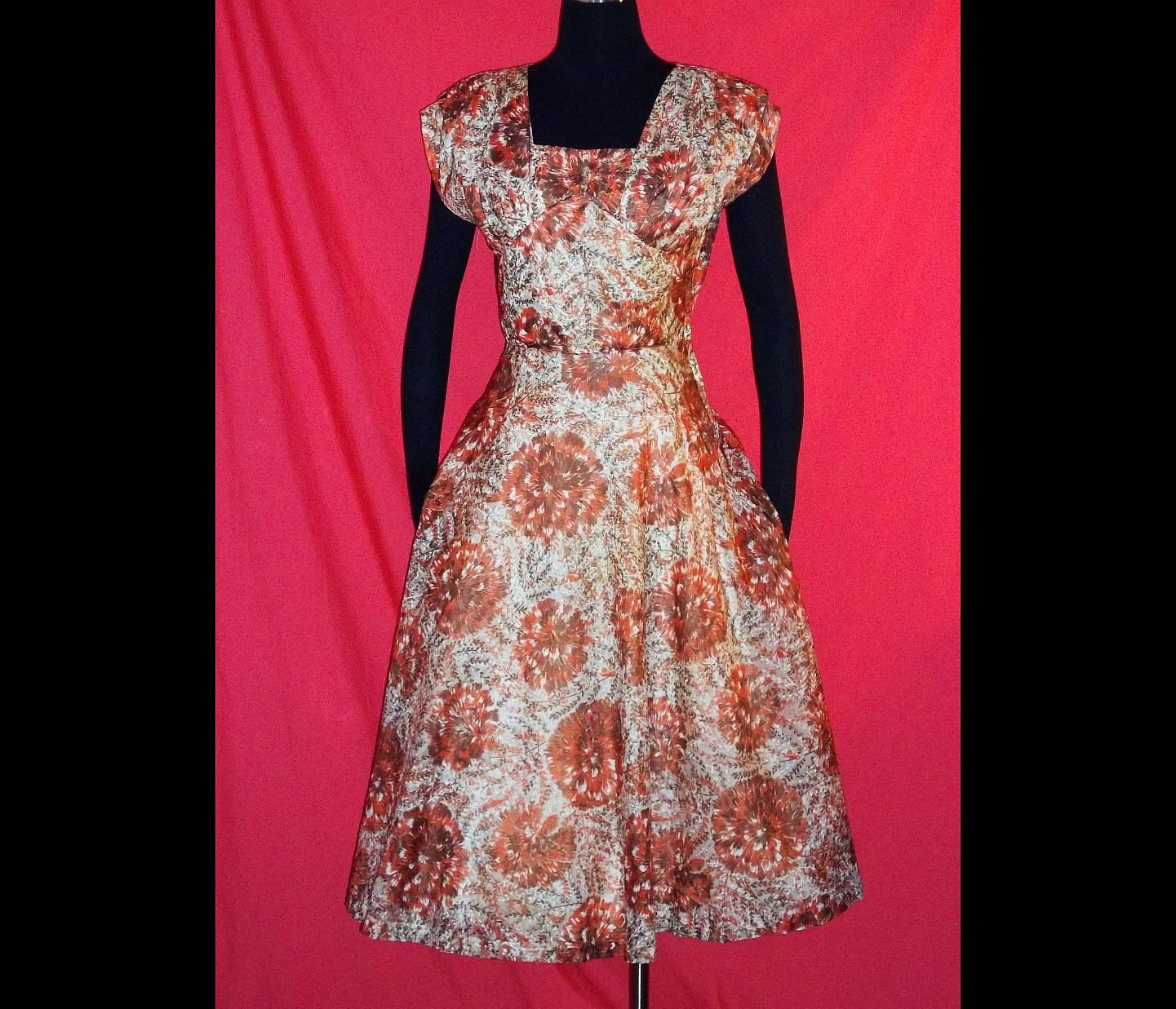 on hold rockabilly floral garden party dress by