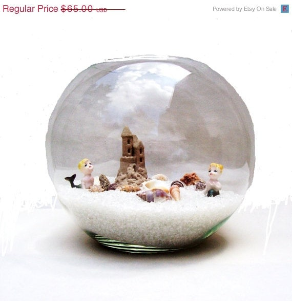 CIJ Sale Beach Scene with Bone China Mermaids - Sand Castle - Seashells & Glass Sand - Decorater Piece - umeone