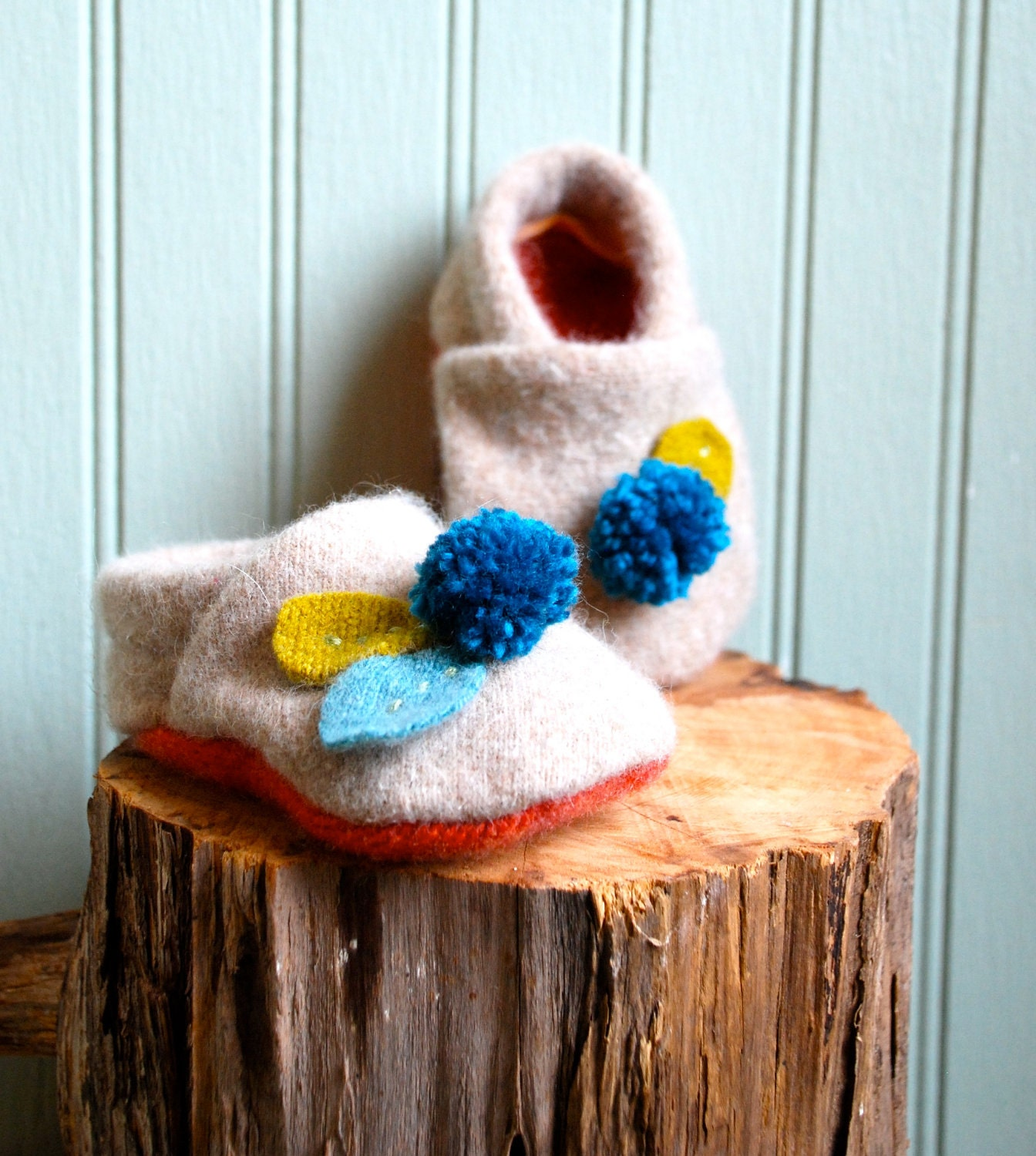 Made to Order///Pompom Baby Booties made from Reclaimed Lambswool/// 0-9 month size