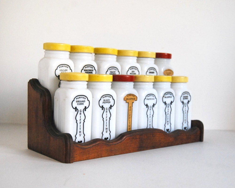 Vintage Griffiths Spice Jar Set Art Deco Milk Glass with Yellow, Red Metal, Wood Rack - CalloohCallay