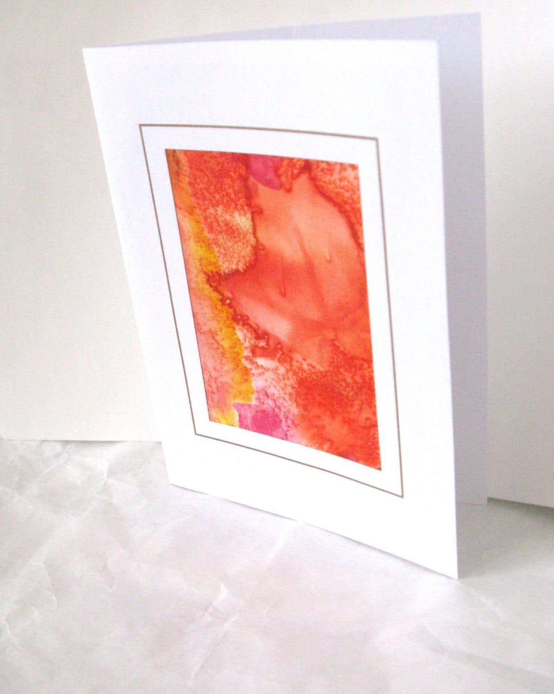 Hand painted orange leaf silk card - SilkDesignByJane