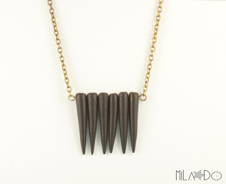 Collier Nabi Noir, chaîne bronze - bijou ethnique tribal