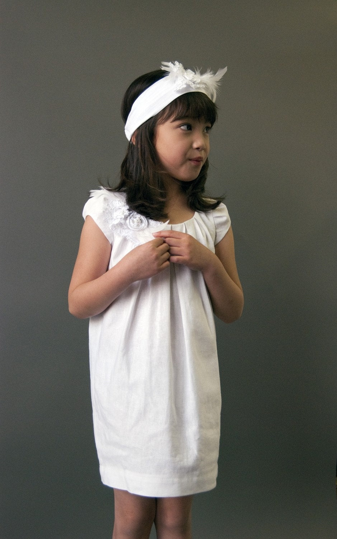 "Linen Flower Girl Dress, ""Kelly-Daydream"", retro style, custom size"