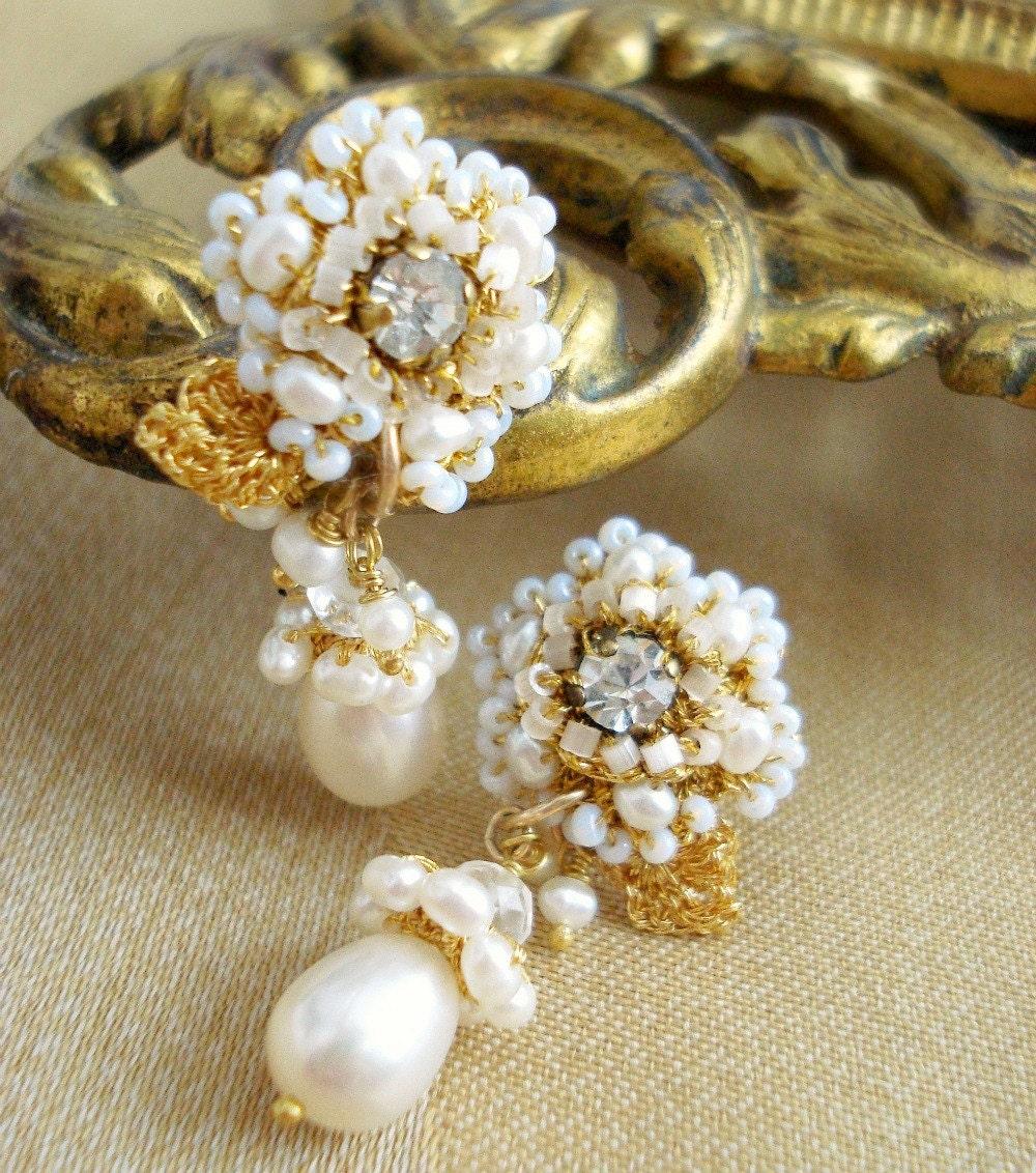 Bridal Pearl Earrings- Jewelry. Gold Lace Rose Flowers. VIntage Rhinestones. White Pearls- F/W 2011- THALIE