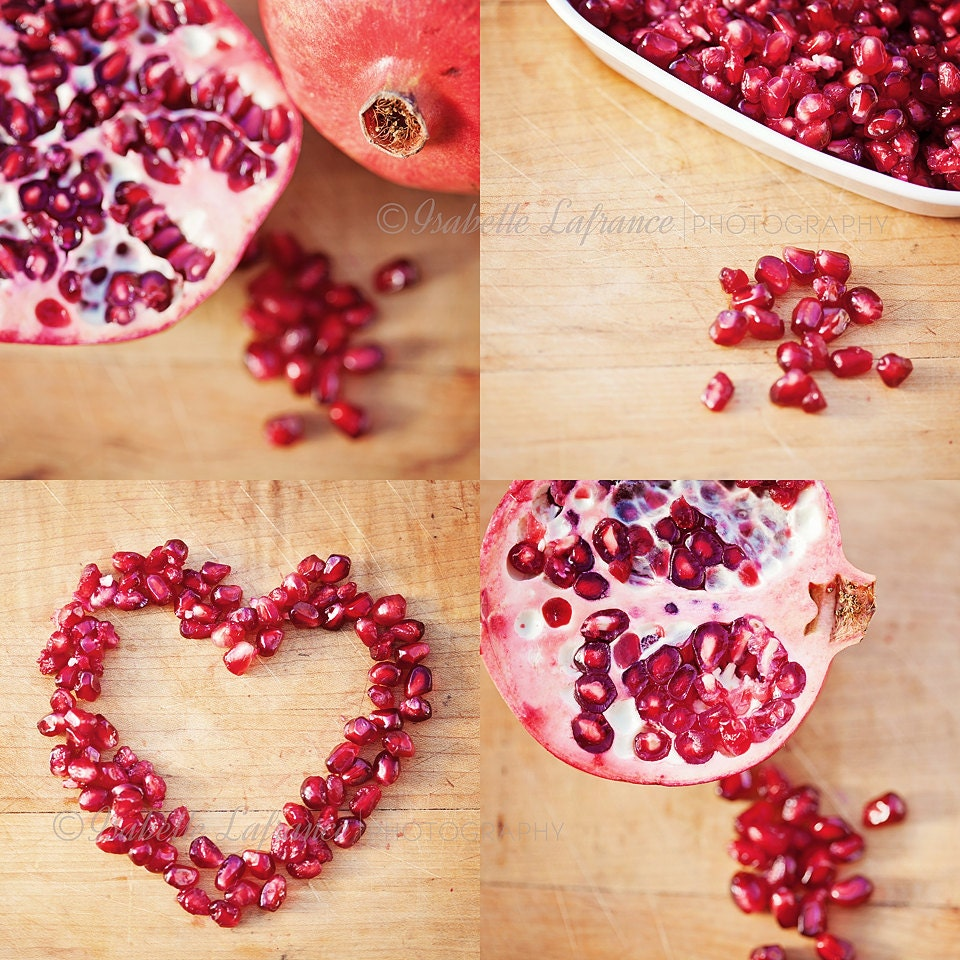 Ruby Red Pomegranate - Set of 4 Fine art photography prints, home decor, kitchen decor, wall art