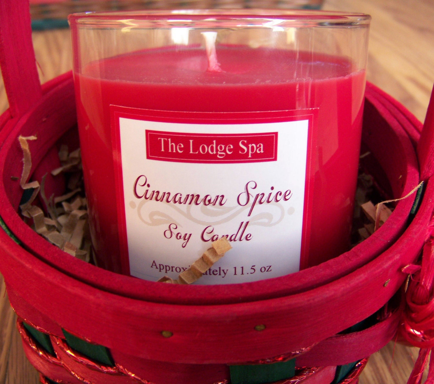 SALE - Soy Candle Gift Basket - Festive Red and Green with Bells- Choose Your Scent - 11.5 oz