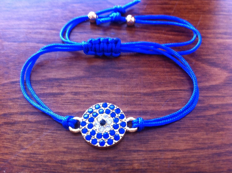 Turquoise December Birthstone Beads with Navy Blue Evil Eye Talisman Good Luck Stretch Bracelet 7