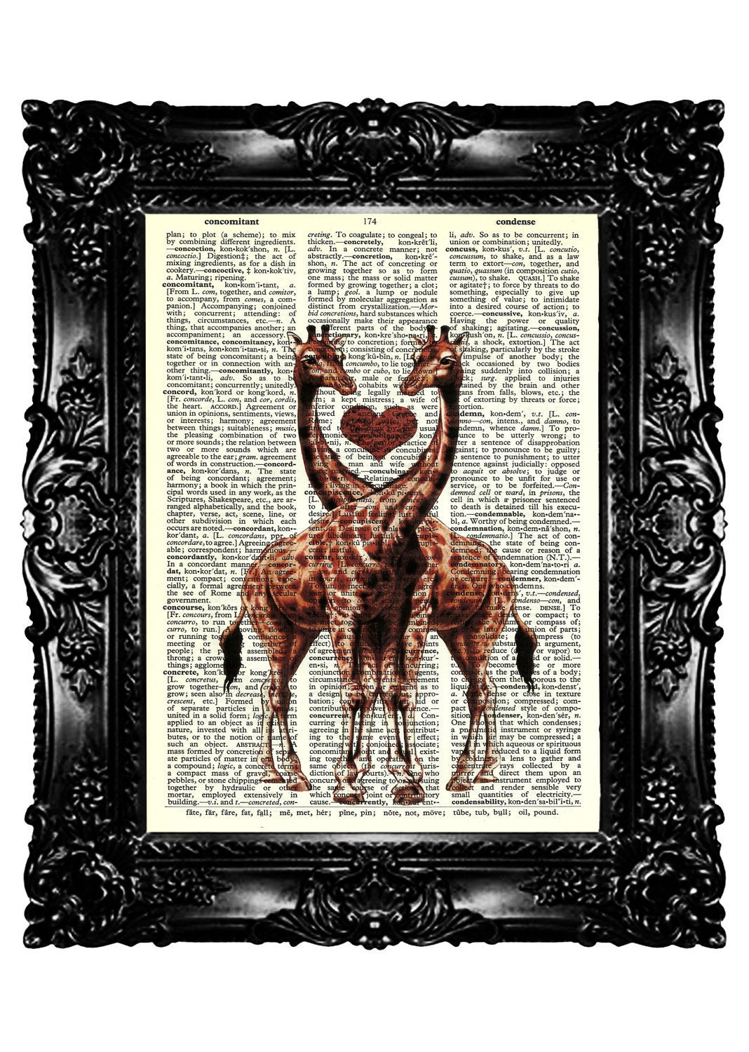 Upcycled Giraffe Dictionary Print