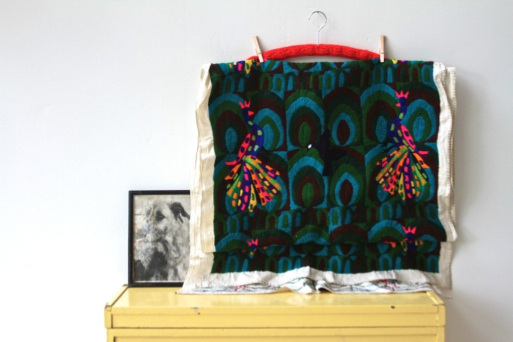 rare, hand woven huge vibrant peacock textile, tapestry